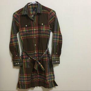 LL Bean petite plaid shirt dress